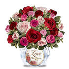Today, Tomorrow, Always Rose Bouquet in Lighted Crystal Vase