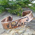 Bear Design Rustic Copper Cuff Bracelet