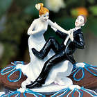 Comical Couple with the Groom Taking a Plunge Cake Topper