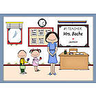 Personalized #1 Teacher Cartoon Print