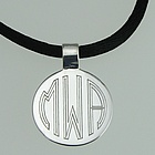 Monogrammed Silver Round Pendant Necklace