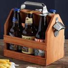 Reclaimed Redwood Beer Caddy with Bottle Opener