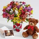 100 Blooms of Love in Love Stripes Vase with Chocolates & Bear