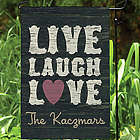 Live, Laugh, Love Personalized Garden Flag