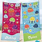 Personalized Joyful Jellyfish Beach Towel