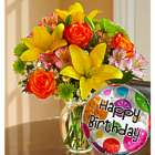 Medium Fields of Europe Happy Birthday Bouquet and Balloon
