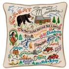 Hand-Embroidered Great Smokey Mountains Pillow