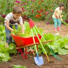 Child's Heavy-Duty Rugged Red-Poly Wheelbarrow