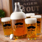 Personalized Printed Banjo Mustache Growler and Beer Glasses