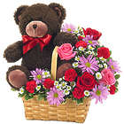 Teddy Bear in Medium Flower Basket
