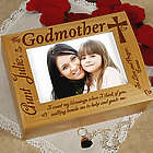 Engraved Godparent Wood Photo Box