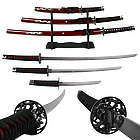 Deluxe Red Dragon Katana Samurai Sword Set with Stand