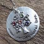 Personalized Family Birthstone Tree Name Necklace