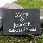 Engraved 'Solid as a Rock' Granite ID Slate with Clothespin