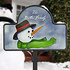 Personalized Watercolor Snowman Yard Sign