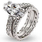 Stunning Marquise Cut CZ Triple Band Engagement Set