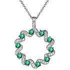 1/3 Ct Diamond & Emerald Circle Pendant in 14K White Gold