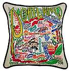 Hand Embroidered CatStudio Portland Pillow