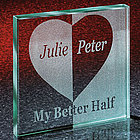 My Better Half Couple's Keepsake Glass Block