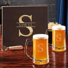 Oakmont Engraved Beer Glasses with Wooden Box
