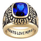 Men's Personalized Large Traditional Yellow Celebrium Class Ring