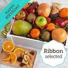 Organic Fresh and Dried Fruit Crate with Birthday Ribbon