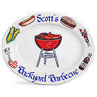 Personalized 13' Red BBQ Platter