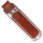 Personalized Leather Brushed Metal 1GB USB Flash Drive