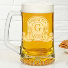 Etched Vintage Bar Sign Personalized Beer Mug