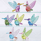 Set of 7 Glass Hummingbird Figurines