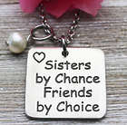Sisters By Chance Pewter Pendant & Birthstone Necklace