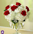 Red Sheer Elegance Hydrangea and Rose Bouquet