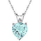 Heart Aquamarine and Diamond Stud Pendant in 14K White Gold
