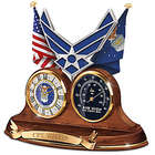 Personalized Air Force Wooden Thermometer & Desk Clock