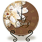 Personalized Brown Tulips Glass Clock with Metal Stand
