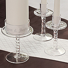 Personalized Glass Pedestal Unity Candle Stand Set