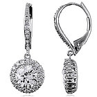 5.5 Carat CZ Sterling Silver Flower Dangle Leverback Earrings