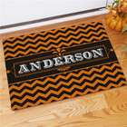 Personalized Family Orange and Black Halloween Doormat
