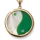 14k Gold Green Jade and Mother of Pearl Yin Yang Pendant