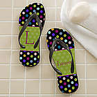 Polka Dot Women's Personalized Flip Flops
