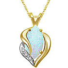 Diamond and Opal Pendant in 14K Two Tone Gold