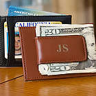 Leather Magnetic Money Clip with Credit Card Slot and ID Window