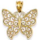 Filigree Butterfly Pendant in 14K Yellow Gold