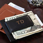Personalized Leather Magnetic Money Clip with Credit Card Slot