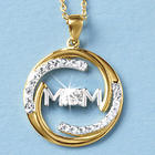 Mom White Topaz Circle Pendant