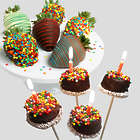 Happy Birthday Chocolate-Covered Strawberries and Brownie Pops