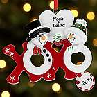 Personalized Hugs & Kisses Snowmen Ornament
