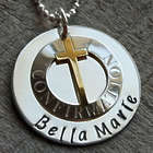 Personalized Confirmation Cross & Sterling Silver Charm Necklace