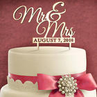 Personalized Wedding Date Mr. & Mrs. Wood Cake Topper