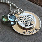 Mother of the Bride's Personalized Thank You Birthstone Necklace